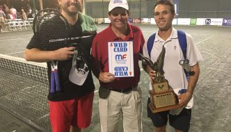 Andrew Butz (left) with Mardy Fish USTA Futures Tournament Director Randy Walker and (far right) Chase Perez-Blanco